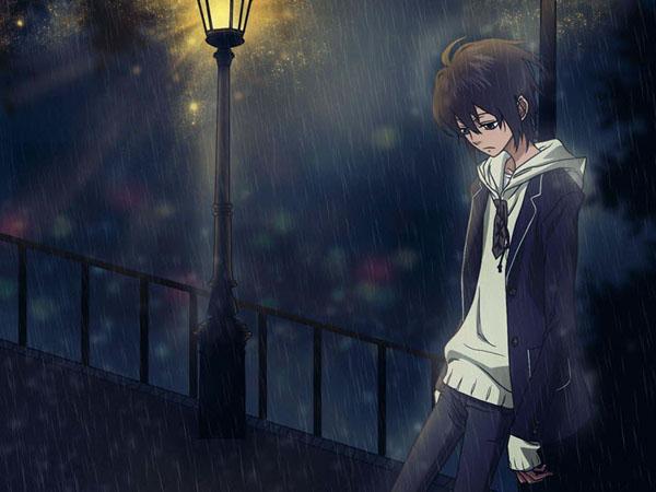 hình ảnh anime boy buồn dưới mưa