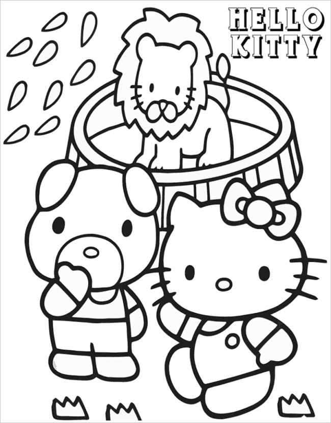 tranh tô màu mèo hello kitty