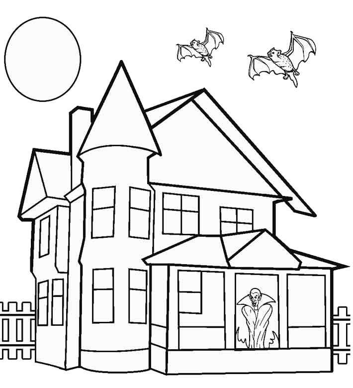 bé tập tô màu ngôi nhà