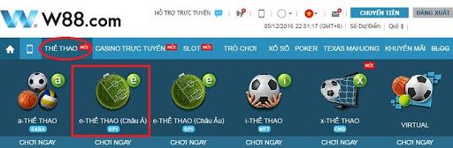 Đăng nhập vào tài khoản của W88, trên menu, bạn hãy chọn mục Thể Thao -> e-Thể Thao(Châu Á)