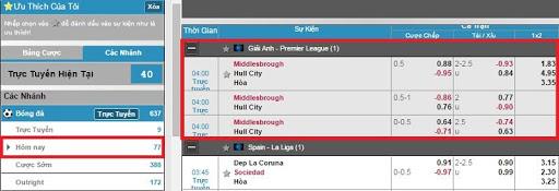 """Click chọn """"Hôm nay"""" ở dãy menu bên trái-> """"Giải Anh – Premier League"""" -> chọn trận đấu muốn đặt cược"""