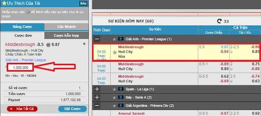 Click chuột trái vào tỷ lệ cược của trận đấu đã chọn(đội bóng Hull City) -> xác nhận số tiền cá cược tại W88